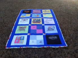 A memory quilt for a friend using the shirts her father-in-law gave her over the years.