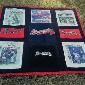 Braves t-shirt quilt from when they won the World Series