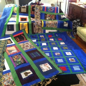 The original four family memory quilts made from my father's clothes.