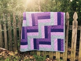 purple and gray stadium quilt - rail fence style