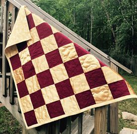 maroon and gold stadium quilt