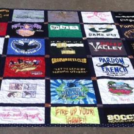 A graduating senior t-shirt quilt.