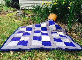 Blue and Gray Lap Quilt #2
