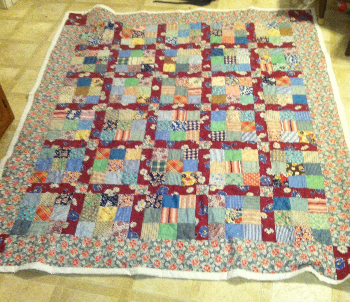 Vintage 9-Patch Lap Quilt