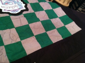 I quilted with with designs like a broomstick, wand, lightening bolt, and the Deathly Hallows symbol.
