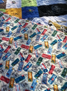 Road trip backing for the motorcycle quilt