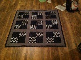 Black, gray, and white stadium quilt - quarters style