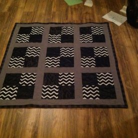 Black, gray, and white stadium quilt - quarters style