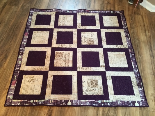 Wine themed lap quilt - alternating frames style