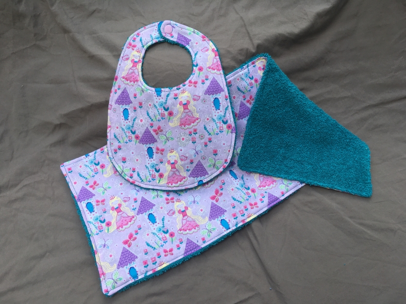 Princess Teal bib set